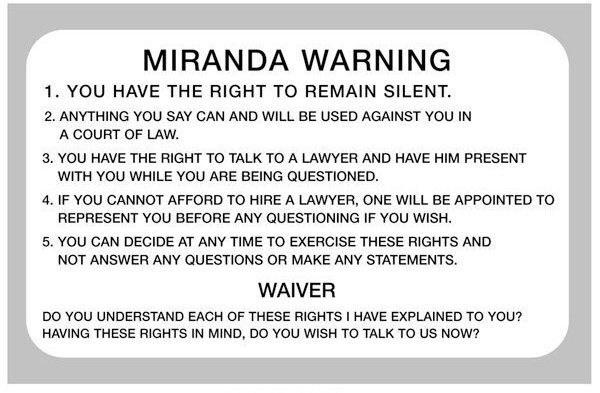 Image result for miranda rights